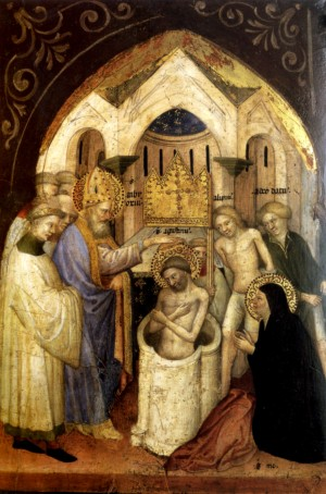 An image of Baptism of St. Augustine by Nicolo di Pietro