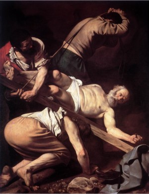Painting of the Crucifixion of Saint Peter by Caravaggio
