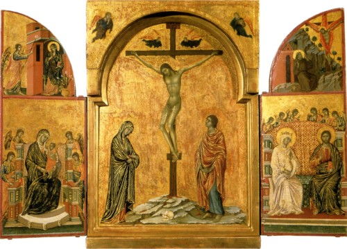 Image of Crucifixion Tryptych by Duccio di Buoninsegna