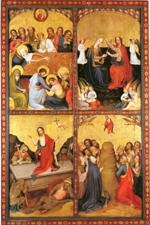 Image of the Death and Crowning of the Virgin, Resurrection and Assumption of Christ by the Master of Sankt Laurenz
