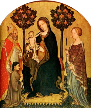 Image of Madonna with Child, Saint Catherine and Saint Nicholas by Gentile da Fabriano