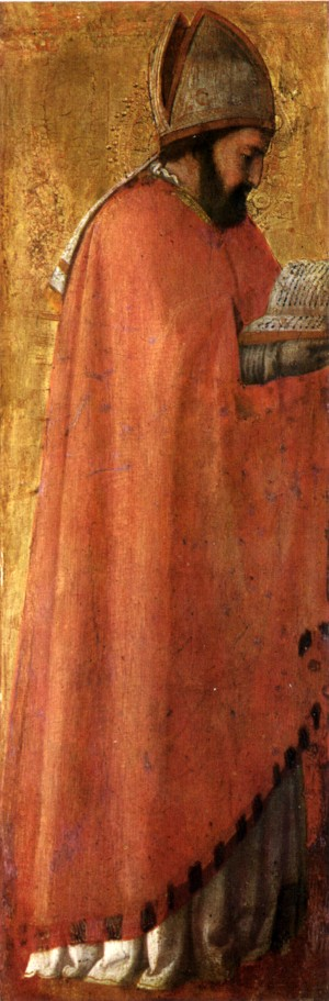 Image of the Pisa polyptych: St Augustine by Masaccio