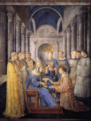 Painting of Saint Peter Consecrates Saint Lawrence as Deacon by Fra Angelico