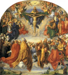 An image of the Adoration of the Holy Trinity by Albrecht Durer