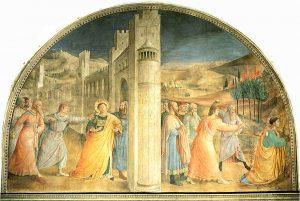 Une image de la vie de Saint-Etienne: Expulsion et la lapidation par Fra Angelico assisté par Gozzoli