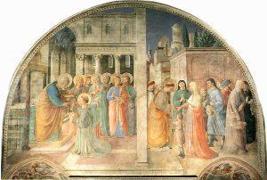 Kad, Saint Stephen Life Vaizdo: Koordinavimas ir davimas išmaldą iki Fra Angelico padeda Benozzo Gozzoli