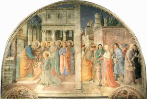 Vita S. Stephani imago: Consecrationum tolles et eleemosynis per Fra Angelico adiutus Benozzo Gozzoli